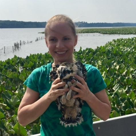 Nicole Fernandes with osprey